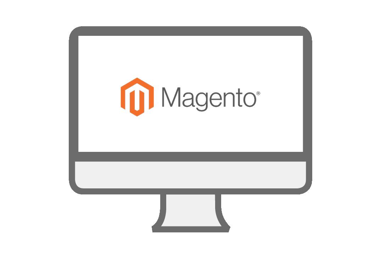 PC-Symbol mit Magento Logo
