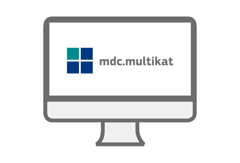 PC-Symbol mit mdc-multikat Logo