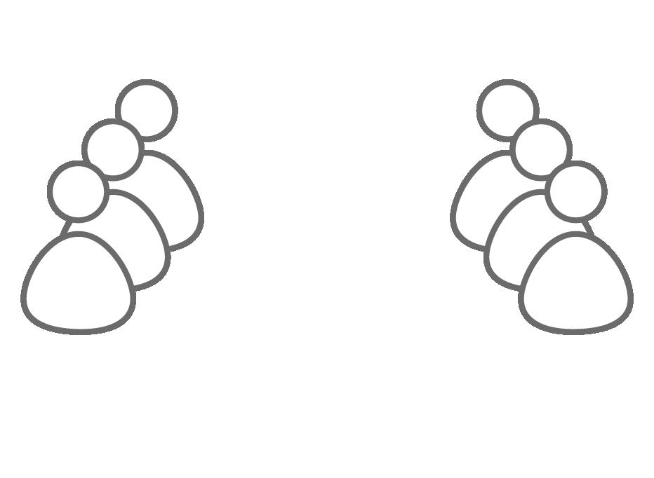 Symbol: Zwei Gruppen aus je drei Figuren stehen sich gegenüber