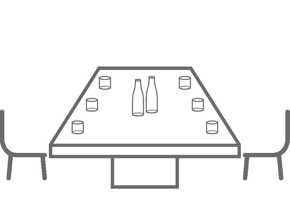 Symbol: Tisch mit zwei Stühlen und Getränken